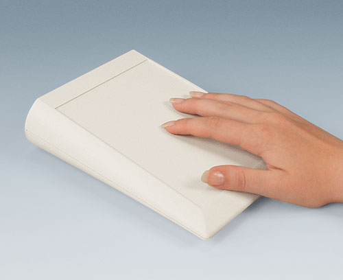 Ergonomic sloping front enclosures