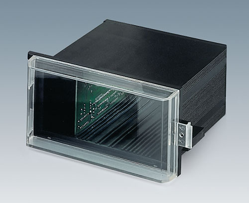 Transparent cover protects display and operating elements