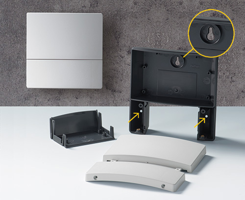 NET-BOX enclosure with openings for faster wall mounting