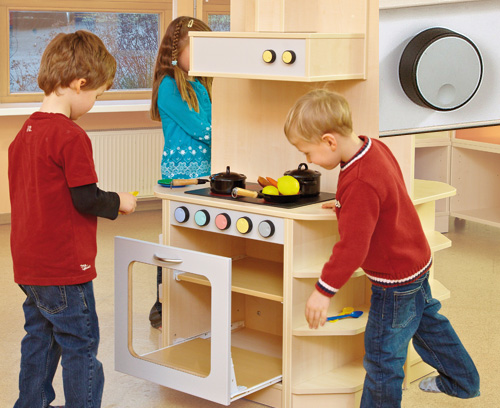 Operating elements for children's kitchen furniture