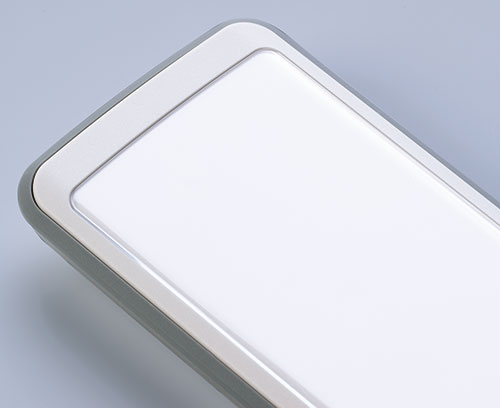 The contoured front screen (accessory) protects the displays underneath
