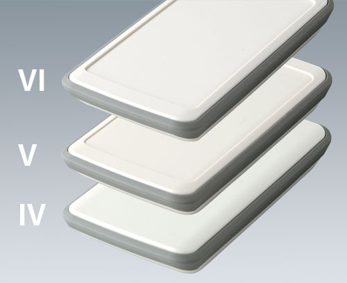 SLIM-CASE with TPE intermediate ring vers. IV, V and VI (flat, recessed by 1 mm or 1.6 mm)